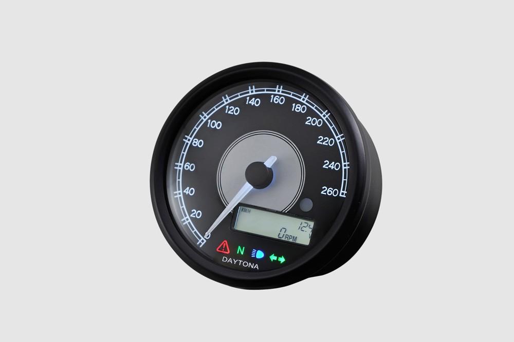 Daytona velona 80mm 260 kmh compteur vitesse et rpm lcd for Garage 4 fois sans frais 77