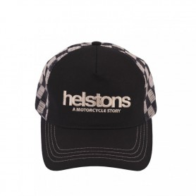Casquettes HELSTONS CASQUETTE HELSTONS TRUCKER FILET LOGO NOIR-BEIGE 20160169 NB