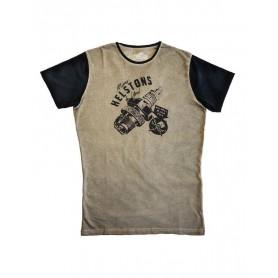 Tee-Shirts Hommes HELSTONS HELSTONS T-SHIRT SPARKS COTON BEIGE-NOIR 20170053 BN