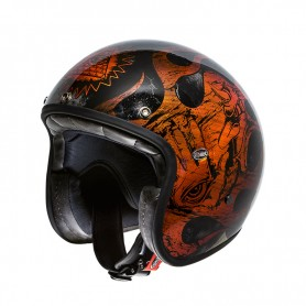 Casques JET PREMIER CASQUE PREMIER LE PETIT CLASSIC BD ORANGE CHROMED LEPETITBDOR