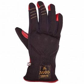 Women's Gloves HELSTONS GANTS HELSTONS ONE LADY HIVER TISSU TECHNIQUE-CUIR NOIR-ROUGE FEMME 20180086 NR