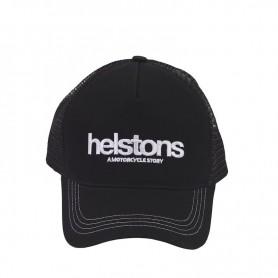 HELSTONS CASQUETTE TRUCKER FILET CAFE RACER NOIR-BLANC