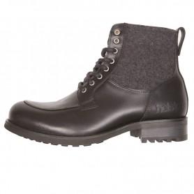 Men's Boots HELSTONS DEMI-BOTTES HELSTONS OXFORD CUIR ANILINE & LAINE NOIR GRIS 20190043 NGR