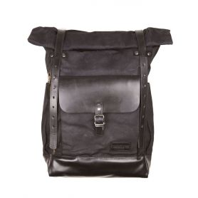 HELSTONS SAC A DOS PADDOCK TOILE & CUIR NOIR