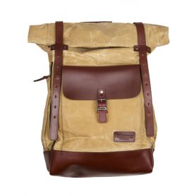Sacs HELSTONS HELSTONS SAC A DOS PADDOCK TOILE & CUIR BEIGE-MARRON 20190057 BM