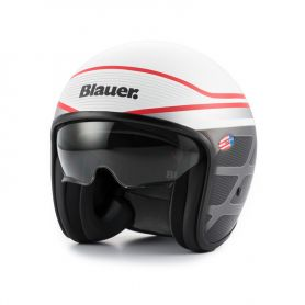Casques JET BLAUER CASQUE BLAUER PILOT 1.1 GRAPHIC B BLANC BRILLANT/ROUGE BLCJ202