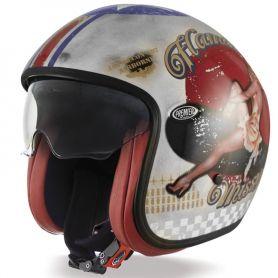 Helmets PREMIER CASQUE PREMIER VINTAGE PIN UP U8 BM VINTAGE PIN UP OLD STYLE SILVER