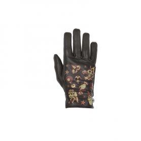 Women's Gloves HELSTONS HELSTONS LADY GLOVES CREAM SUMMER LEATHER BLACK