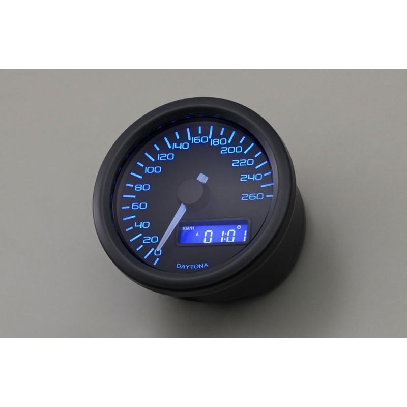 Compteurs DAYTONA DAYTONA COMPTEUR DE VITESSE VELONA 60MM A LED BLEU 260KMH NOIR 86861 86861