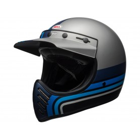 Casques BELL CASQUE BELL MOTO-3 Matte Silver/Black/Blue Stripes 7092525